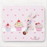 Cute bunny and kawaii cupcakes mouse pad