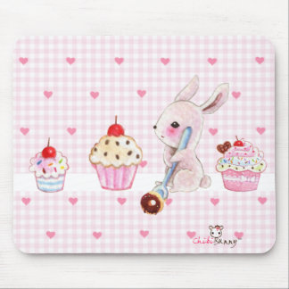 Cute bunny and kawaii cupcakes mouse pad