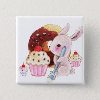 Cute bunny and kawaii cupcakes pinback button