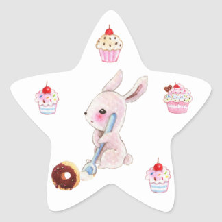Cute bunny and kawaii cupcakes stickers