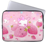 Cute bunny and kawaii strawberries laptop computer sleeve