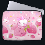 "Cute bunny and kawaii strawberries laptop sleeve<br><div class=""desc"">This design features a cute chibibunny with kawaii strawberries,  milk cartons,  lollipop,  stars and hearts on pink background. Designed by ChibiBunny. For more designs and products,  please visit us at: www.chibibunny.com</div>"