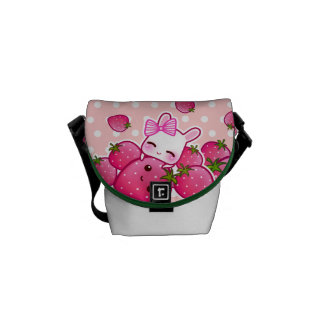 Cute bunny and kawaii strawberries courier bag