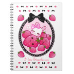 Cute bunny and kawaii strawberries notebooks