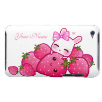 Cute bunny and kawaii strawberries - Personalized Barely There iPod Cover