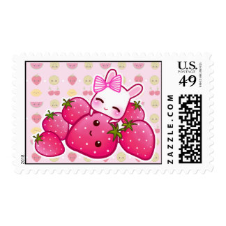 Cute bunny and kawaii strawberries stamp