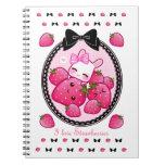 Cute bunny and kawaii strawberries spiral notebook