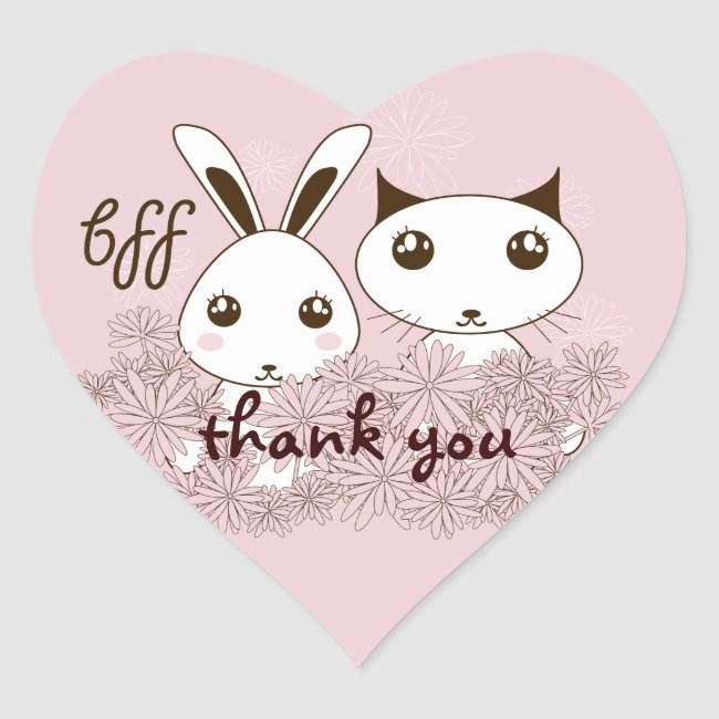 Cute Bunny and Kitten Kids Cartoon Thank You Pink
