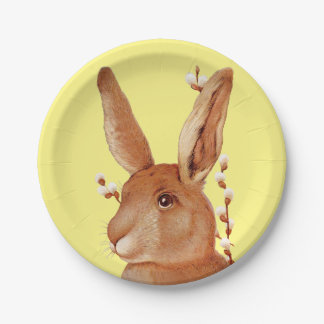 Cute Bunny and Pussy Willow Easter Paper Plate