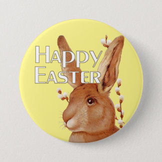 Cute Bunny and Pussy Willow Happy Easter Pinback Button