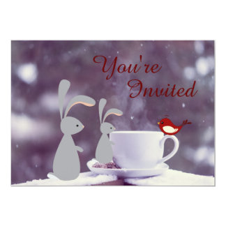 Cute Bunny and Tea Cup in Snow 1st Birthday Card