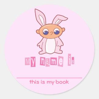 Cute Bunny Babby Kids Bookplates Classic Round Sticker