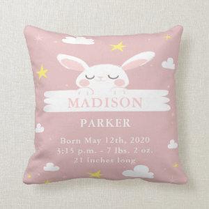 Cute Bunny Baby Girl Birth Announcement Pillow