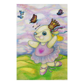 Cute Bunny Ballerina Pencil Drawing Poster
