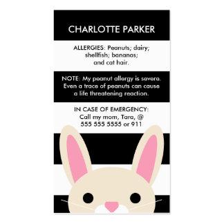 Cute Bunny Black Stripes Kids Allergy Card