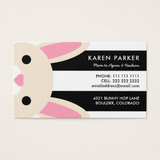 Cute Bunny Black Stripes Mommy Card