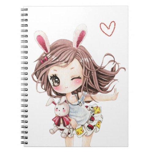 Cute bunny chibi girl notebook