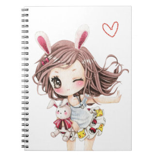 Cute bunny chibi girl spiral notebook