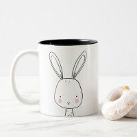 Cute bunny Coffee mug Black and White Animal