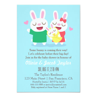 Cute Bunny Couple Coed Baby Shower Invitations