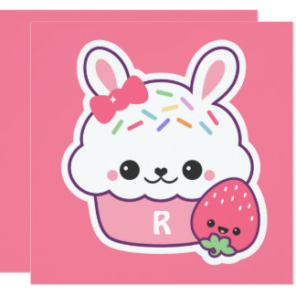 Cute Bunny Cupcake Birthday Party Invitations