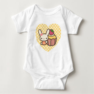 Cute bunny cupcake strawberry pink kawaii baby bodysuit