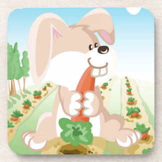 Cute bunny eating carrot beverage coaster