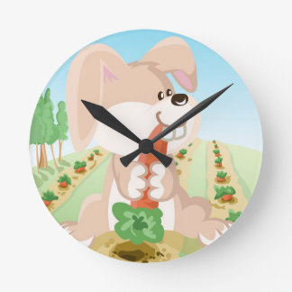 Cute bunny eating carrot round clock