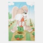 Cute bunny eating carrot towels