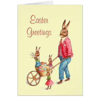Cute Bunny Family and Easter Egg Cart Card