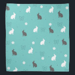 """cute bunny flower and butterfly pattern bandana<br><div class=""""desc"""">Elegant and sweet design representing white and grey rabbits,  butterflies and flowers on a blue-green background.</div>"""