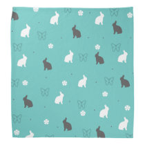 cute bunny flower and butterfly pattern bandana