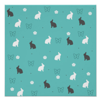 cute bunny flower and butterfly pattern poster