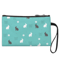 cute bunny flower and butterfly pattern wristlet wallet