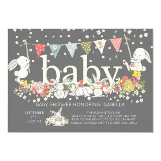 Cute Bunny Gender Neutral Baby Shower Invitation
