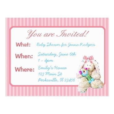 Beach Themed Cute Bunny Girl's Baby Shower Invitation Postcard