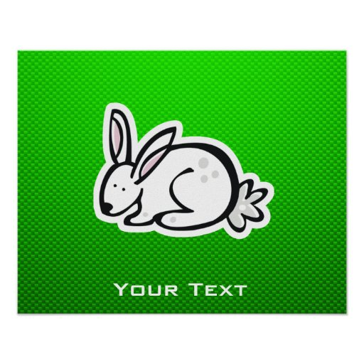 Cute Bunny; Green Posters