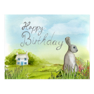 "Cute bunny ""Happy Birthday"" postcard"
