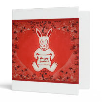 Cute Bunny Happy Easter Drawing Illustration 3 Ring Binder