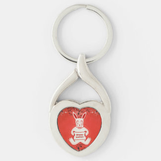 Cute Bunny Happy Easter Drawing Illustration Keychain