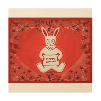 Cute Bunny Happy Easter Drawing Illustration Wood Wall Art