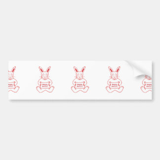 Cute Bunny Happy Easter Drawing in Red ans White Bumper Sticker