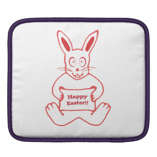 Cute Bunny Happy Easter Drawing in Red ans White iPad Sleeve