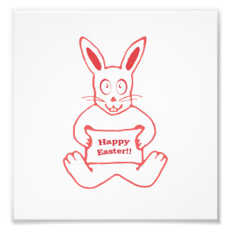 Cute Bunny Happy Easter Drawing in Red ans White Photo Print