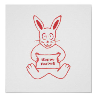 Cute Bunny Happy Easter Drawing in Red ans White Poster