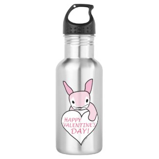 Cute Bunny Happy Valentine's Day Stainless Steel Water Bottle