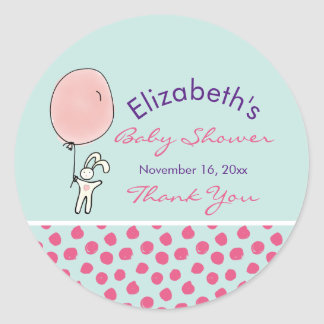 Cute Bunny Holding a Balloon Baby Shower Classic Round Sticker