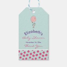 Cute Bunny Holding a Balloon Baby Shower Thank You Gift Tags