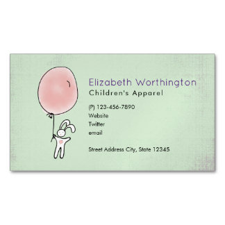 Cute Bunny Holding a Balloon Business Card Magnet