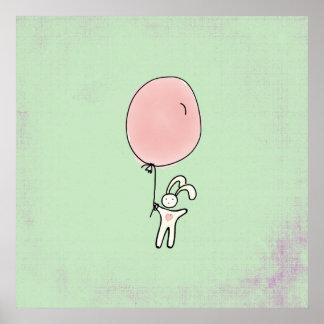 Cute Bunny Holding a Balloon Poster